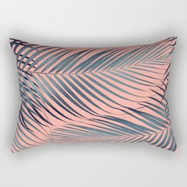 Blue Palm Leaves on Coral Pink #1 #tropical #decor #art #society6 Rectangular Pillow