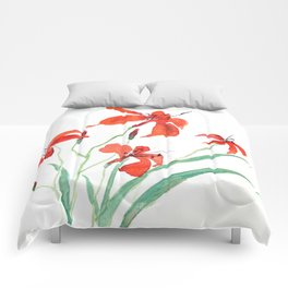 orange day lily Comforters