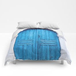 Vibrant Blue Greek Door to Whitewashed Home in Crete, Greece Comforters