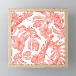 Tropical Hibiscus and Palm Leaves Dark Coral White Framed Mini Art Print