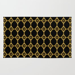 Gold Tone and Black Diamond Shapes Grid Rug