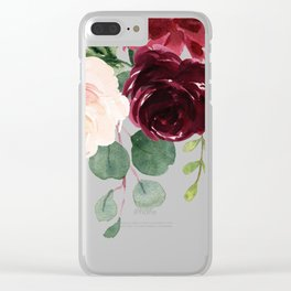 Burgundy Blue Watercolor Flowers Border Clear iPhone Case