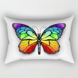 Rainbow Monarch Butterfly Rectangular Pillow