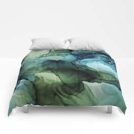 Land and Water Abstract Ink Painting Blues and Greens Comforters