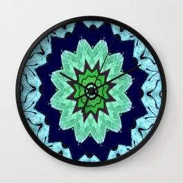 Lovely Healing Mandalas in Brilliant Colors: Light Blue, Dark Blue, Mint, Purple, and Green Wall Clock