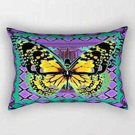 Tiger Yellow & Black Butterfly  Teal-Purple  Abstract Pattern   Rectangular Pillow