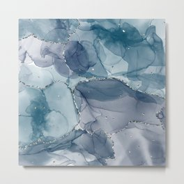 Alcohol Ink Art - Navy Silver Metal Print