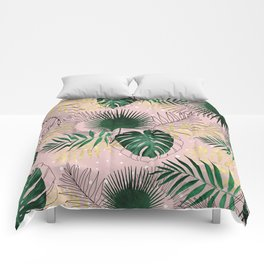 Modern gold tropical leaves and doddles design Comforters