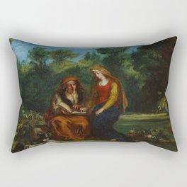 "Eugène Delacroix ""The Education of the Virgin"" Rectangular Pillow"
