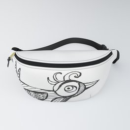 Bird drawing black white pattern Fanny Pack