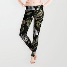 Dark pattern botanical boho Leggings