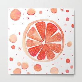 Grapefruit Splash - Watercolor Illustration Metal Print