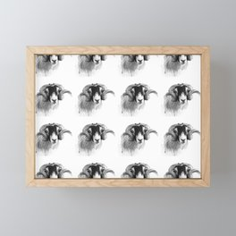 Tiled black and white moorland sheep Framed Mini Art Print