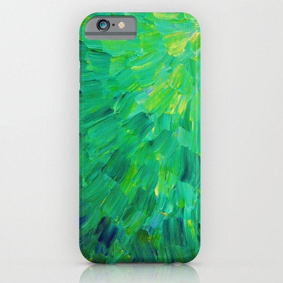 SEA SCALES in GREEN - Bright Green Ocean Waves Beach Mermaid Fins Scales Abstract Acrylic Painting iPhone & iPod Case