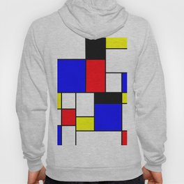 Red Blue Yellow Geometric Squares Hoody