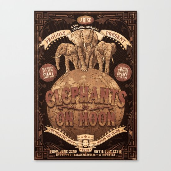 elephants on moon Canvas Print