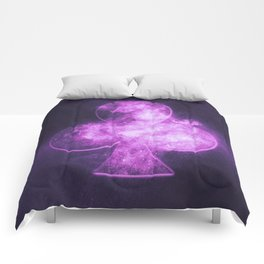 Clubs symbol. Playing card. Abstract night sky background Comforters