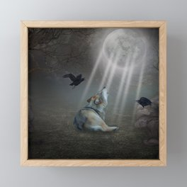 Awesome wolf in the night Framed Mini Art Print