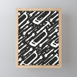Black and White Tools Framed Mini Art Print