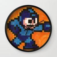 mega man Wall Clocks featuring Mega Man by Alison Hinch