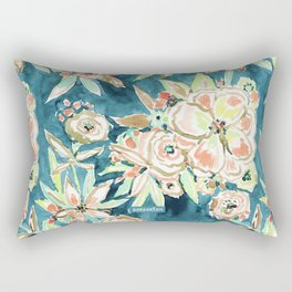 RUCKUS Navy Peach Watercolor Floral Rectangular Pillow