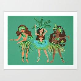 Luau Girls on Mint Art Print
