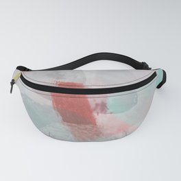 brush painting texture abstract background in pink purple green red Fanny Pack