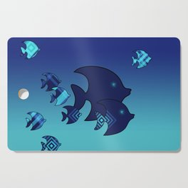 Nine Blue Fish with Patterns Cutting Board
