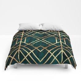 Dark Teal Geo Comforters