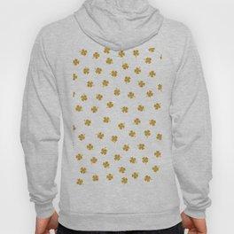 Golden Shamrocks White Background Hoody