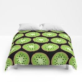 Kiwi Pattern     Black Background Comforters