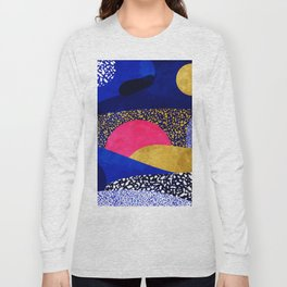 Terrazzo galaxy blue night yellow gold pink Long Sleeve T-shirt