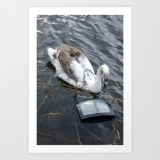 The swan and the tv Art Print