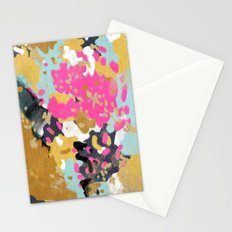 Laurel - Abstract painting in a free style with bold colors gold, navy, pink, blush, white, turquois Stationery Cards