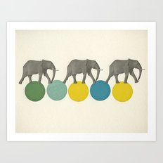 Travelling Elephants Art Print