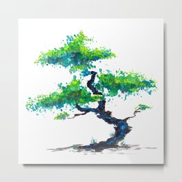 Blue Bonsai Metal Print