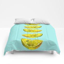 Lemon Slices Turquoise Comforters