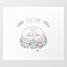 tea time cat Art Print