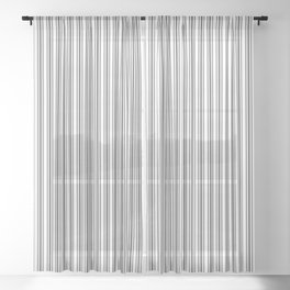Trendy French Black and White Mattress Ticking Double Stripes Sheer Curtain