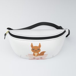 Cute Kawai pink cup with red squirrel Fanny Pack