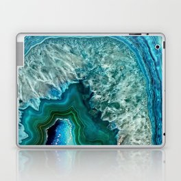Aqua turquoise agate mineral gem stone - Beautiful Backdrop Laptop & iPad Skin