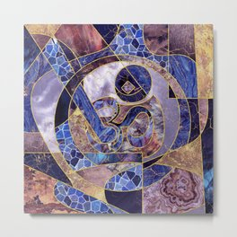 Om symbol abstract textures collage Metal Print