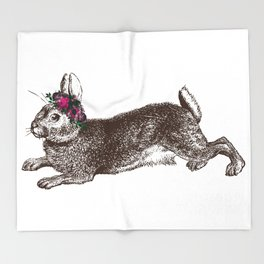The Rabbit and Roses Throw Blanket