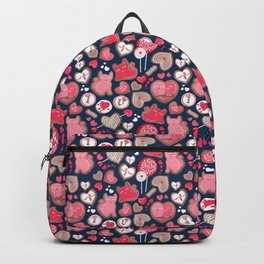 Valentine Sweetness  // navy blue background pink and red cats and candy Backpack