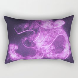 Om symbol. Hindu religion. Abstract night sky background. Rectangular Pillow