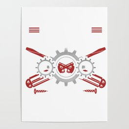 Mechanic Brother Machines Repair Vehicles Tools Mechanical Engineering Auto Car Repairing Gift Poster