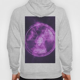 Radiation sign, Radiation symbol. Abstract night sky background Hoody