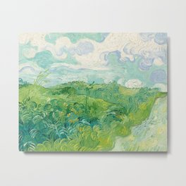 Green Wheat Fields, Auvers by Vincent van Gogh, 1890 Metal Print