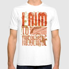 I Aim to Misbehave  White 2X-LARGE Mens Fitted Tee
