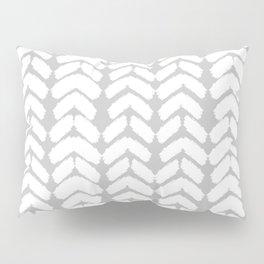 Hand-Drawn Herringbone (White & Gray Pattern) Pillow Sham